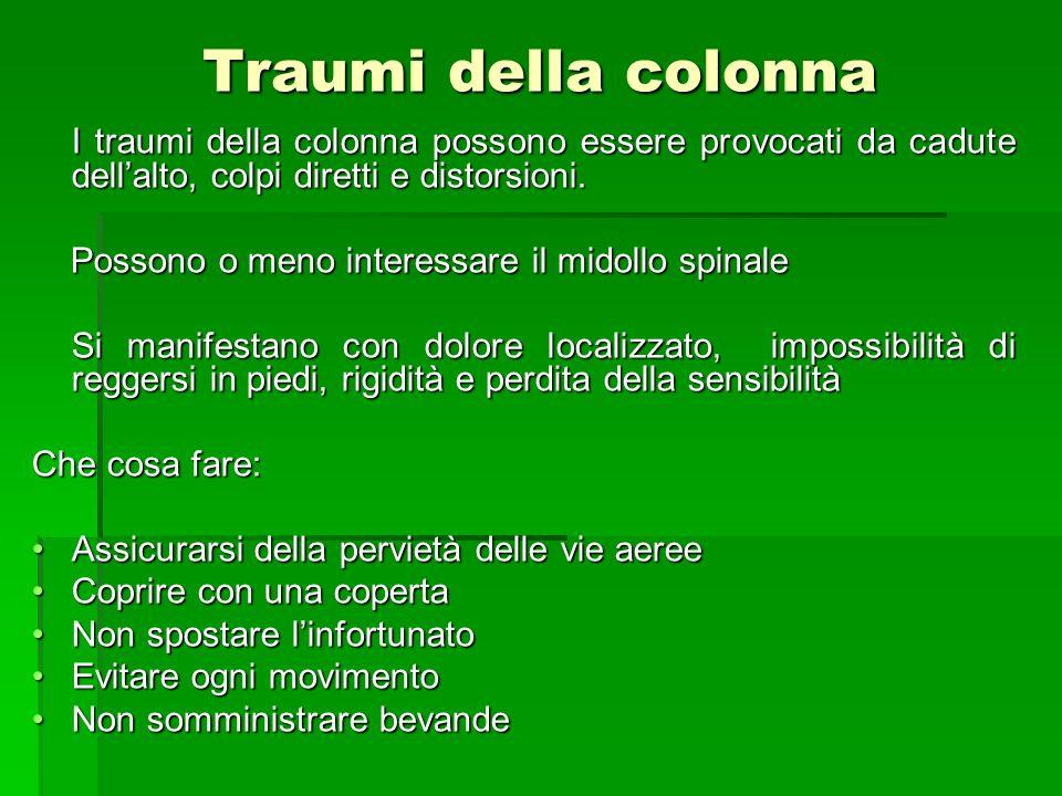 Traumi della colonna I traumi della colonna possono essere provocati da cadute dellalto, colpi diretti e distorsioni. I traumi della colonna possono e