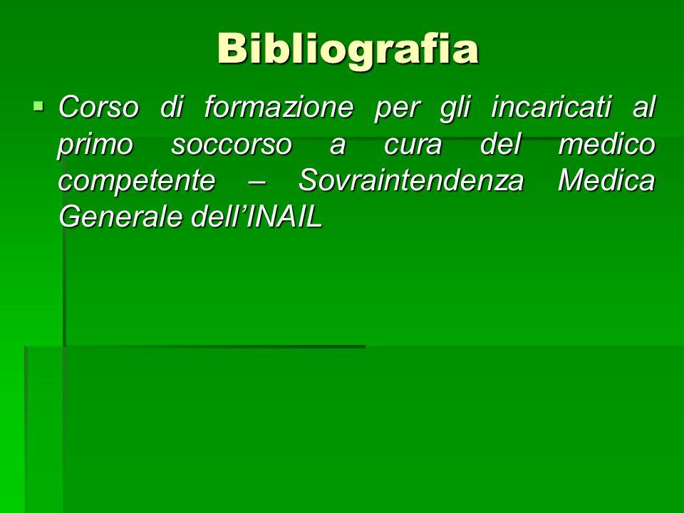 Bibliografia Corso di formazione per gli incaricati al primo soccorso a cura del medico competente – Sovraintendenza Medica Generale dellINAIL Corso d