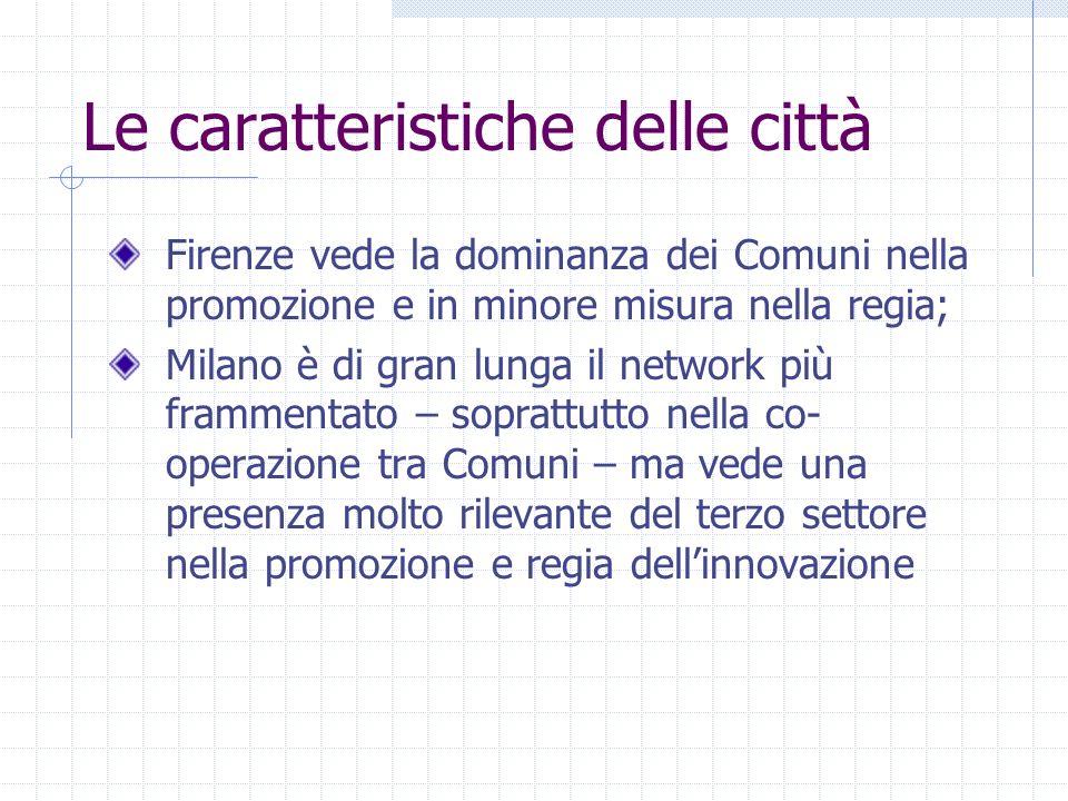 Le caratteristiche delle città Firenze vede la dominanza dei Comuni nella promozione e in minore misura nella regia; Milano è di gran lunga il network più frammentato – soprattutto nella co- operazione tra Comuni – ma vede una presenza molto rilevante del terzo settore nella promozione e regia dellinnovazione