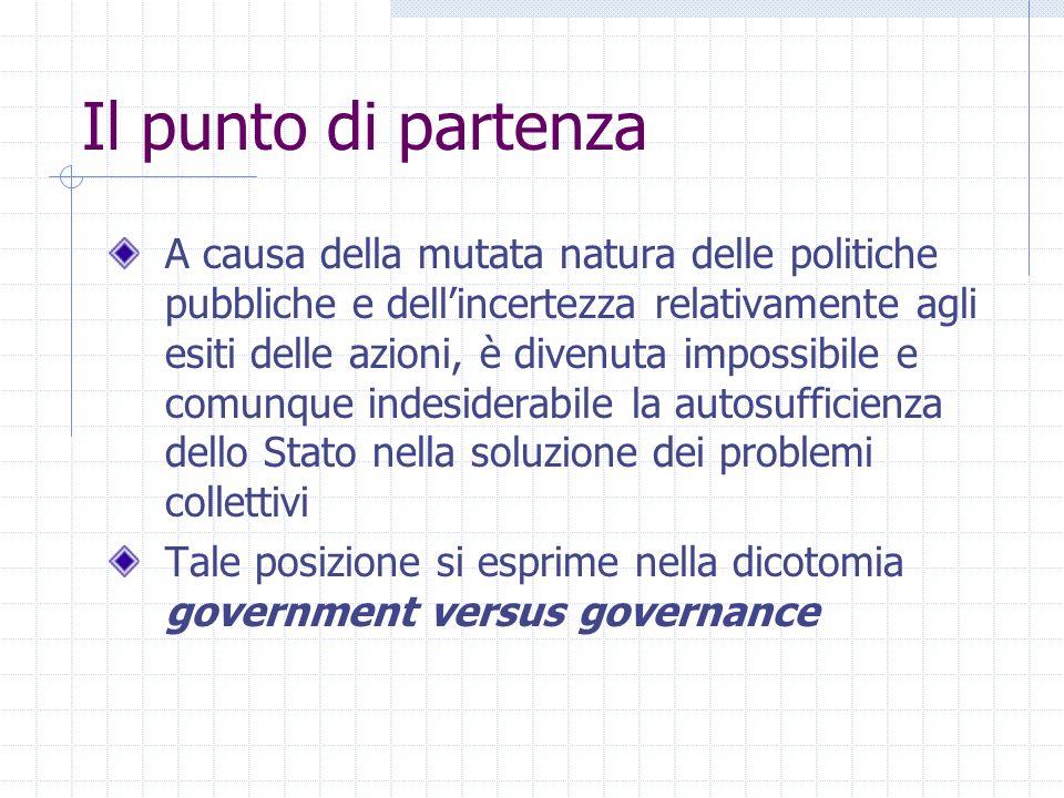 Il punto di partenza A causa della mutata natura delle politiche pubbliche e dellincertezza relativamente agli esiti delle azioni, è divenuta impossib