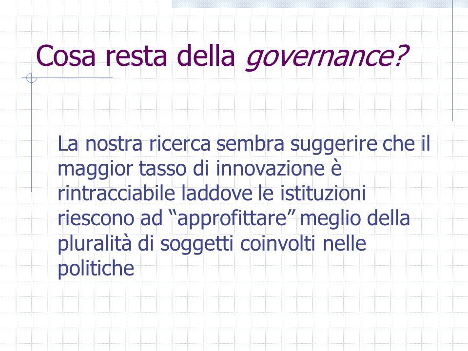 Cosa resta della governance? La nostra ricerca sembra suggerire che il maggior tasso di innovazione è rintracciabile laddove le istituzioni riescono a