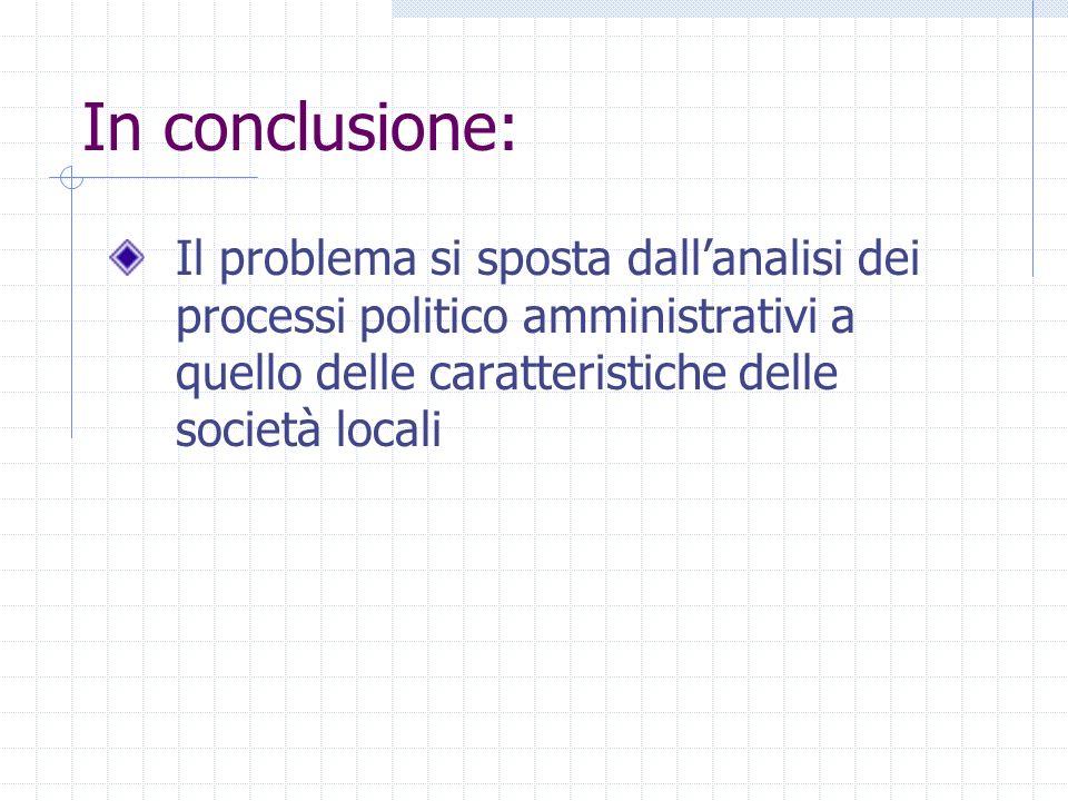 In conclusione: Il problema si sposta dallanalisi dei processi politico amministrativi a quello delle caratteristiche delle società locali
