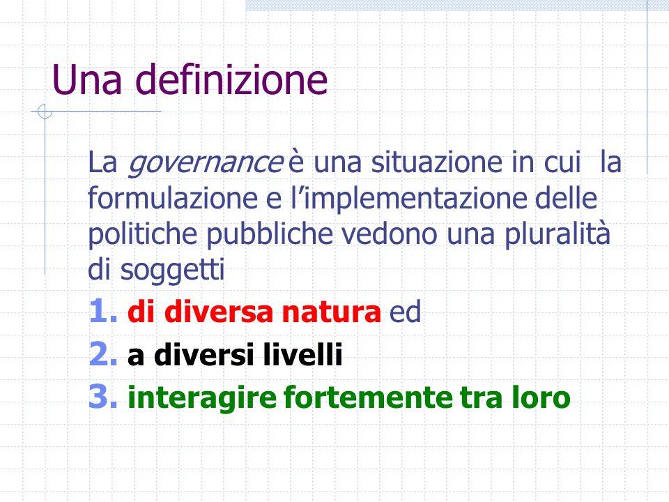 Una definizione La governance è una situazione in cui la formulazione e limplementazione delle politiche pubbliche vedono una pluralità di soggetti 1.