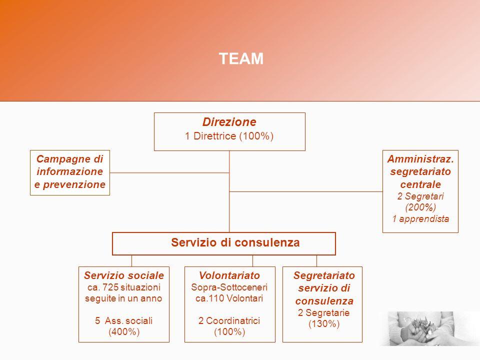 TEAM Direzione 1 Direttrice (100%) Volontariato Sopra-Sottoceneri ca.110 Volontari 2 Coordinatrici (100%) Servizio sociale ca.