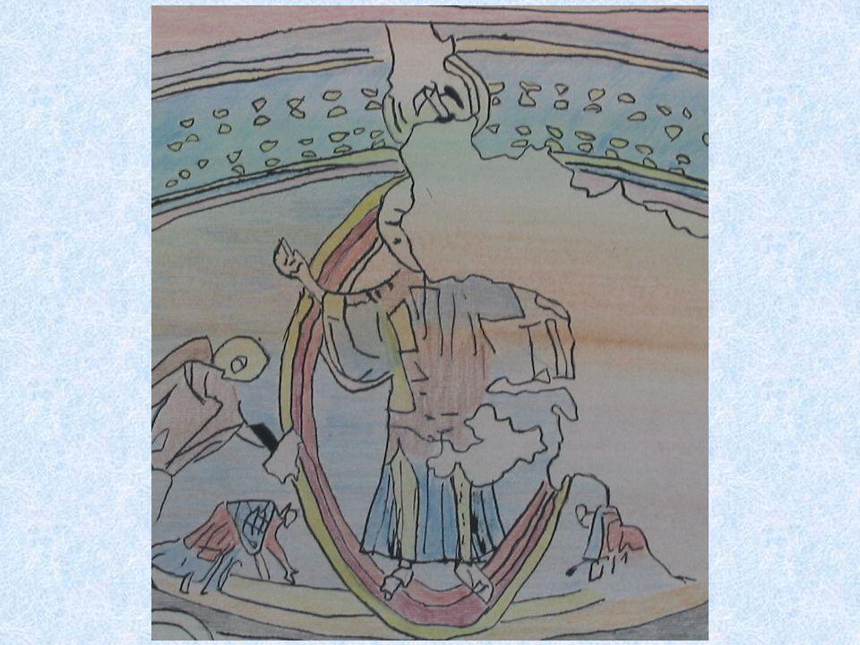 La grande immagine di Cristo campeggia nellabside. Ai suoi piedi si prostrano i profeti Geremia ed Ezechiele, gli arcangeli Michele e Gabriele e le sc