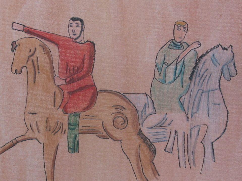 Olibrio accompagnato da un soldato incontra S. Margherita