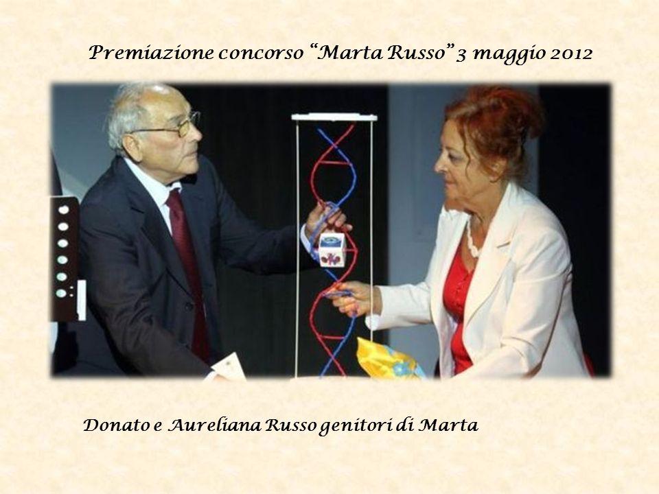 Premiazione concorso Marta Russo 3 maggio 2012 Donato e Aureliana Russo genitori di Marta