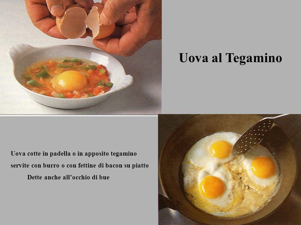 Uova al Tegamino Uova cotte in padella o in apposito tegamino servite con burro o con fettine di bacon su piatto Dette anche allocchio di bue