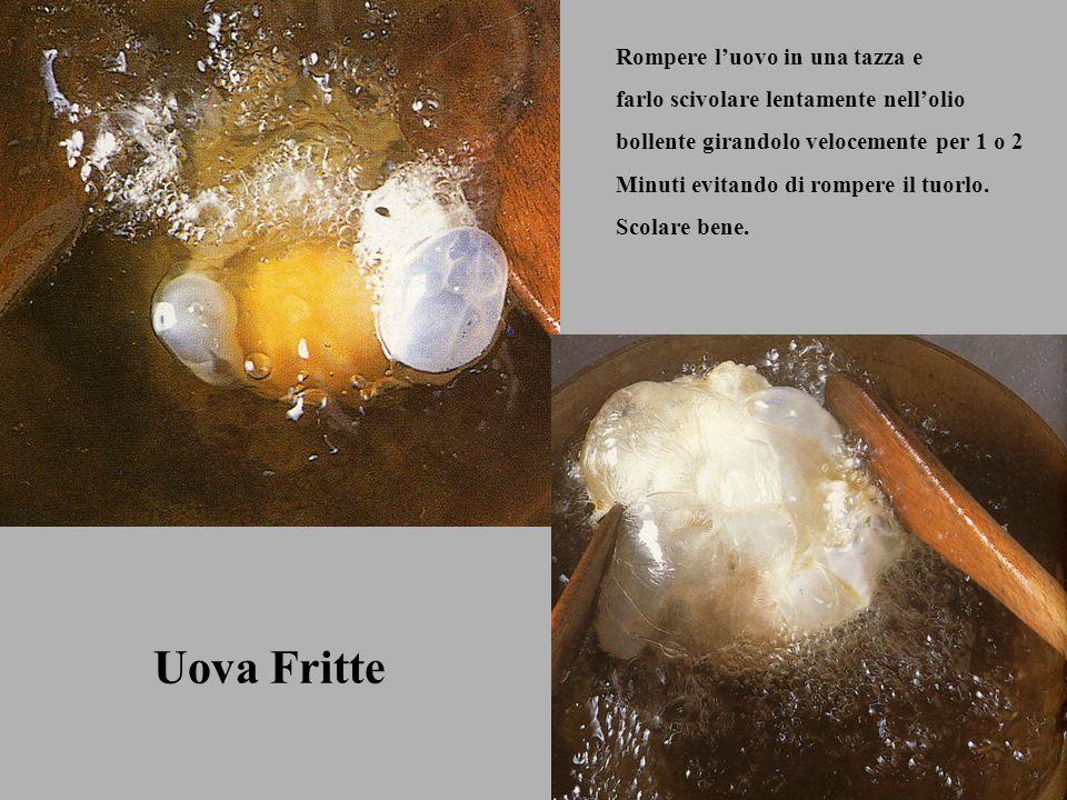 Uova Fritte Rompere luovo in una tazza e farlo scivolare lentamente nellolio bollente girandolo velocemente per 1 o 2 Minuti evitando di rompere il tu