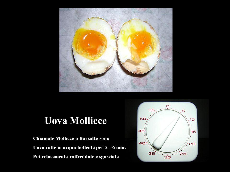 Uova cotte in acqua bollente 8 –11 min. Poi raffreddate velocemente Uova Sode
