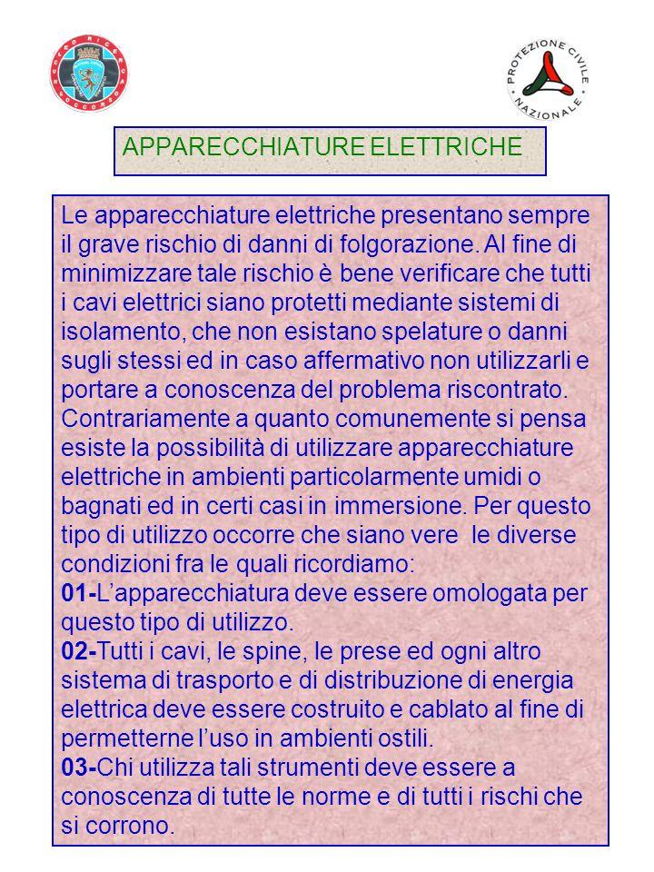 APPARECCHIATURE ELETTRICHE Le apparecchiature elettriche presentano sempre il grave rischio di danni di folgorazione.
