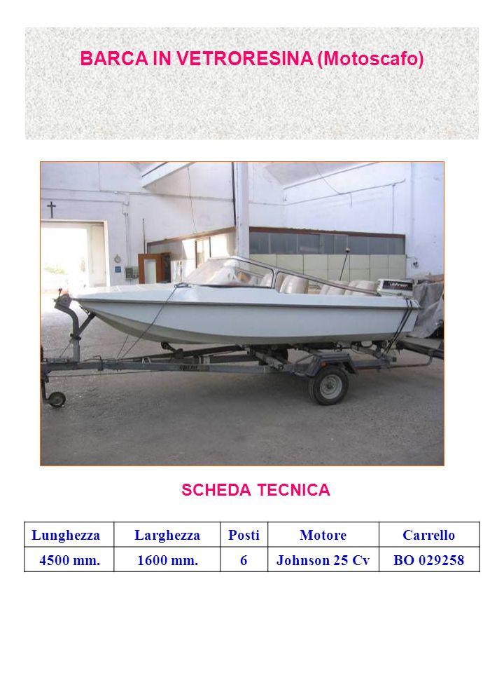 BARCA IN VETRORESINA (Motoscafo) SCHEDA TECNICA LunghezzaLarghezzaPostiMotoreCarrello 4500 mm.1600 mm.6Johnson 25 CvBO 029258