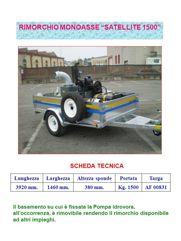 RIMORCHIO MONOASSE SATELLITE 1500 SCHEDA TECNICA LunghezzaLarghezzaAltezza spondePortataTarga 3920 mm.1460 mm.380 mm.Kg.