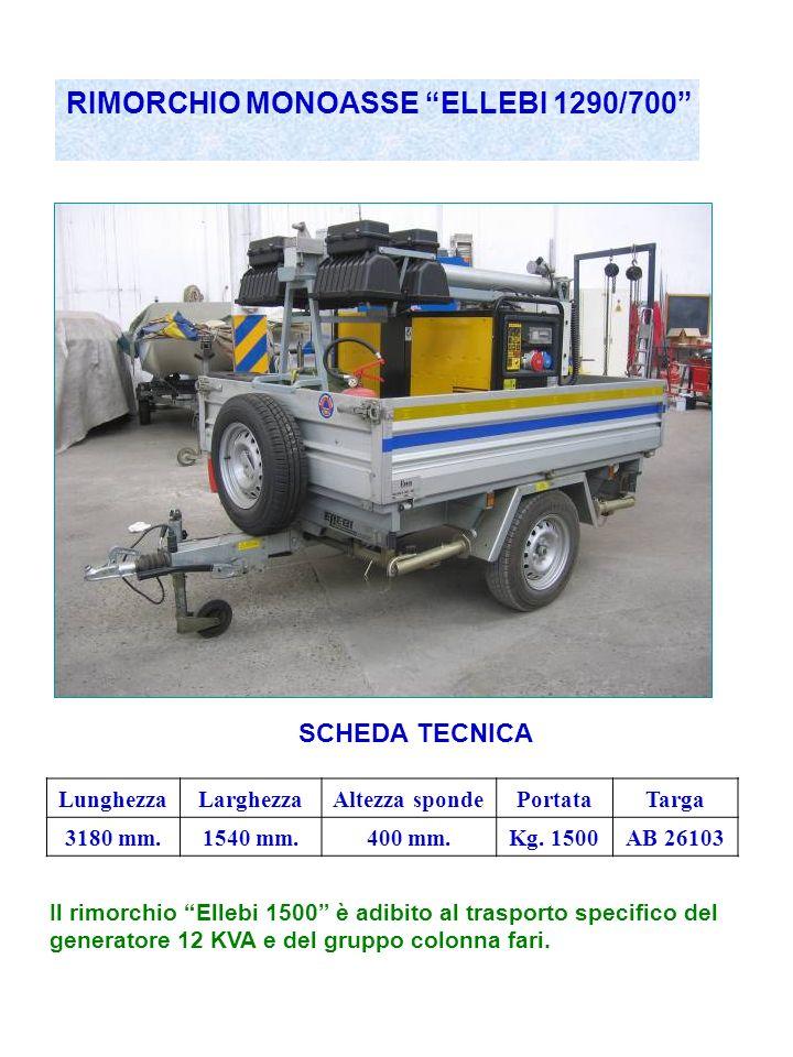 RIMORCHIO MONOASSE ELLEBI 1290/700 SCHEDA TECNICA LunghezzaLarghezzaAltezza spondePortataTarga 3180 mm.1540 mm.400 mm.Kg.