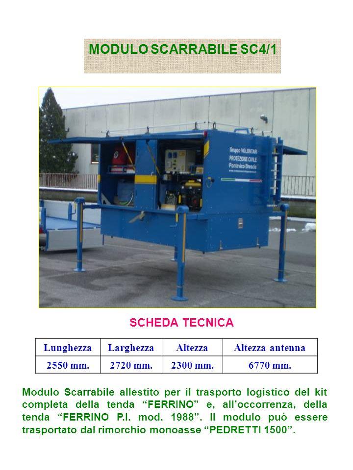 MODULO SCARRABILE SC4/1 SCHEDA TECNICA LunghezzaLarghezzaAltezzaAltezza antenna 2550 mm.2720 mm.2300 mm.6770 mm.