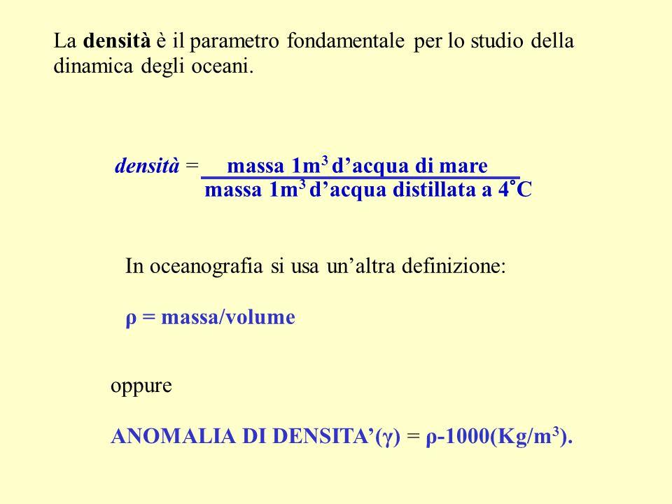 La densità è il parametro fondamentale per lo studio della dinamica degli oceani. In oceanografia si usa unaltra definizione: ρ = massa/volume oppure