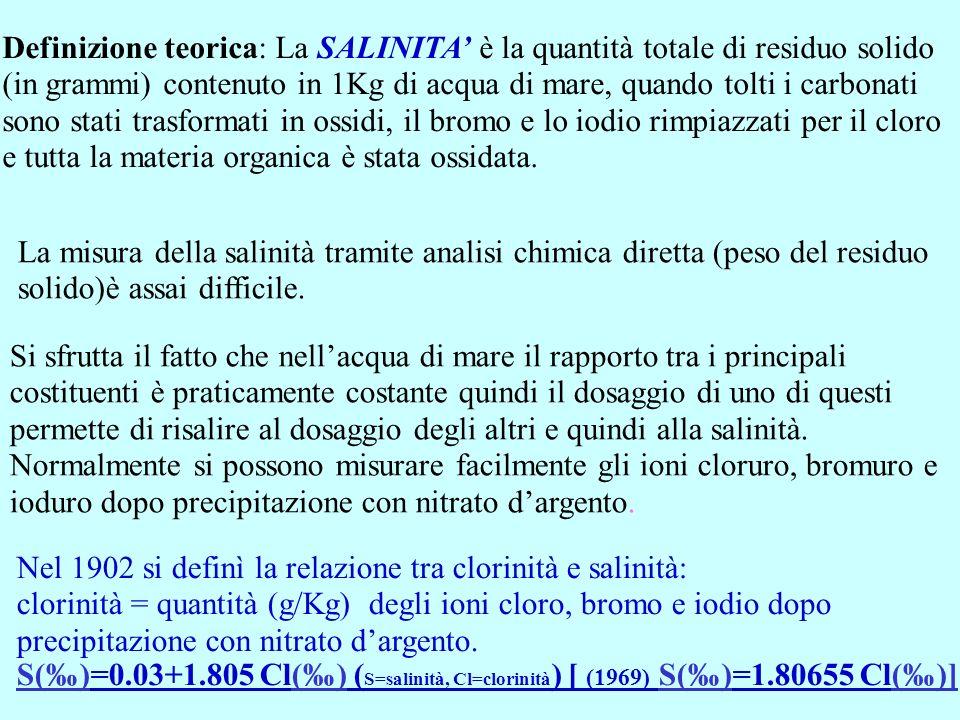 Definizione teorica: La SALINITA è la quantità totale di residuo solido (in grammi) contenuto in 1Kg di acqua di mare, quando tolti i carbonati sono s