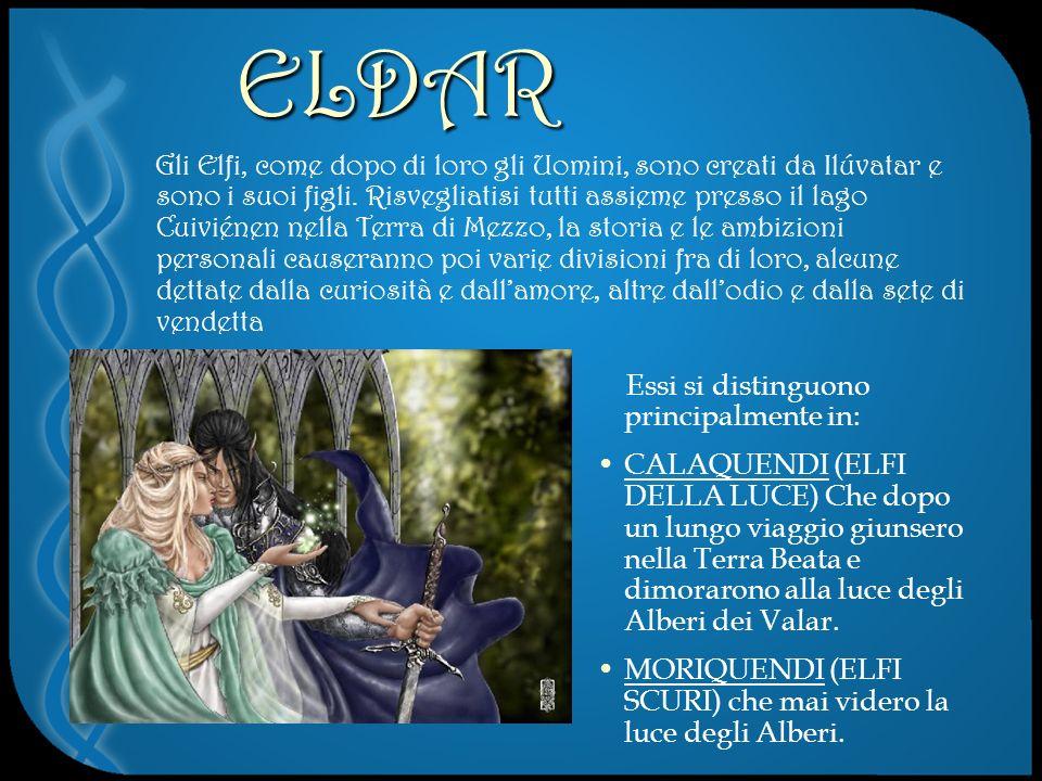 ELDAR Gli Elfi, come dopo di loro gli Uomini, sono creati da Ilúvatar e sono i suoi figli.