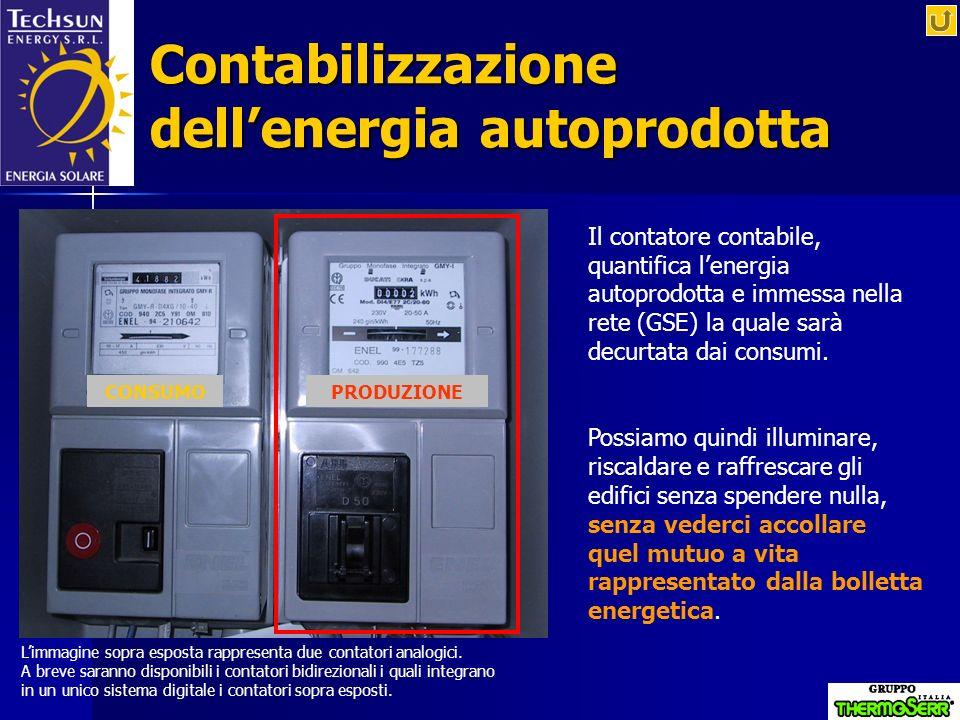 Contabilizzazione dellenergia autoprodotta Il contatore contabile, quantifica lenergia autoprodotta e immessa nella rete (GSE) la quale sarà decurtata