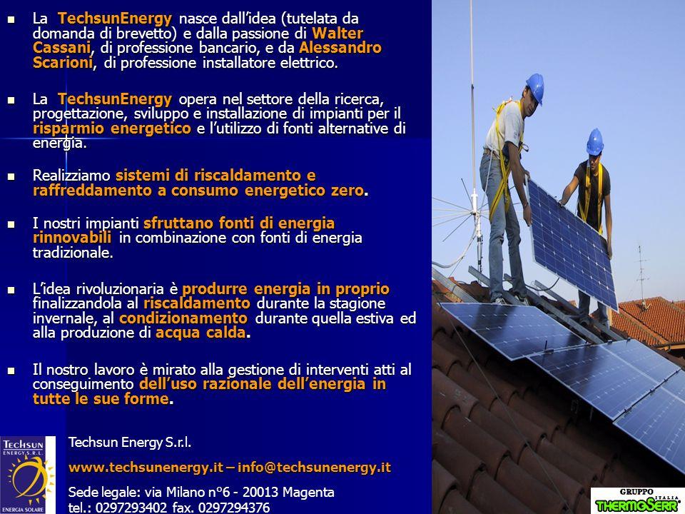 Ipotesi, obbiettivo a cui tendere … N° abitazioni dotate di impianto TechSun Energy 1.00010.000 Superficie media unità abitative (m 2 ) 150150 Superficie coperta da generatori fotovoltaici (m 2 ) 33330 Potenza elettrica installata (MWp) 440 Elettricità annuale prodotta (GWh/anno) 4,2142 Costo indicativo singolo impianto () 34.10034.100 Costo indicativo totale impianti (Ml) 34,10341 Risparmio annuale di G.N.