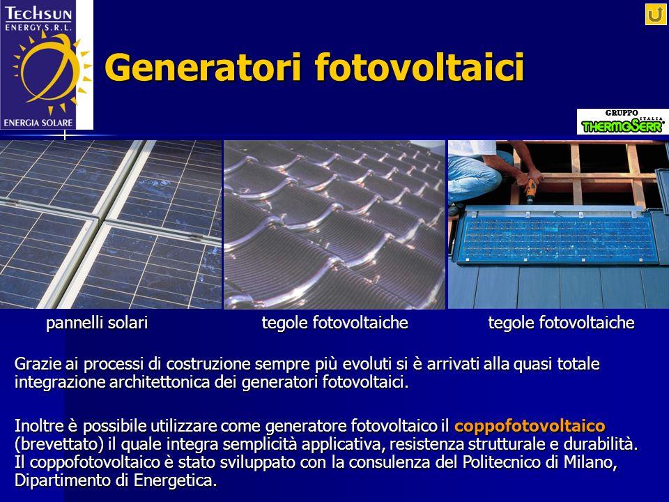 Generatori fotovoltaici Grazie ai processi di costruzione sempre più evoluti si è arrivati alla quasi totale integrazione architettonica dei generator