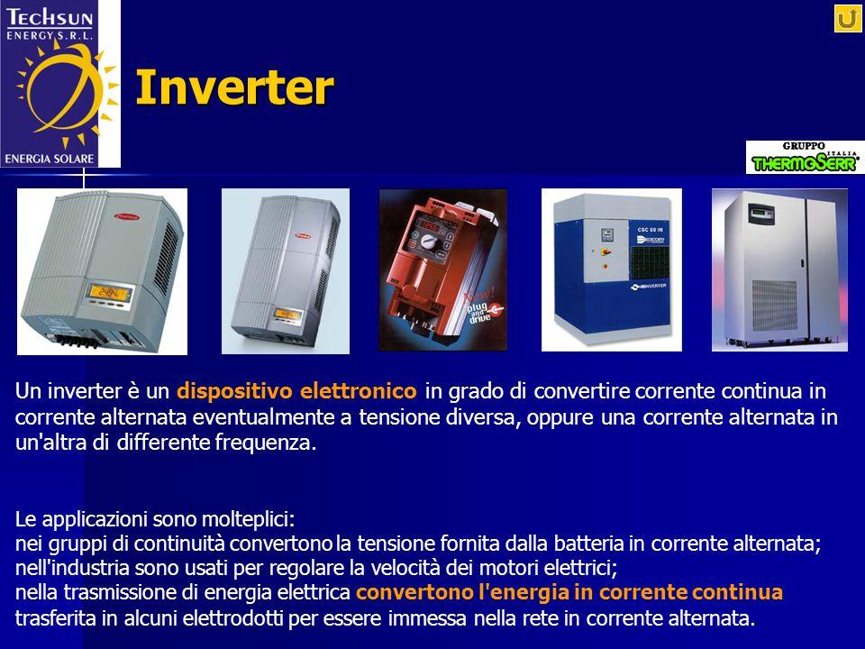 Inverter Un inverter è un dispositivo elettronico in grado di convertire corrente continua in corrente alternata eventualmente a tensione diversa, opp