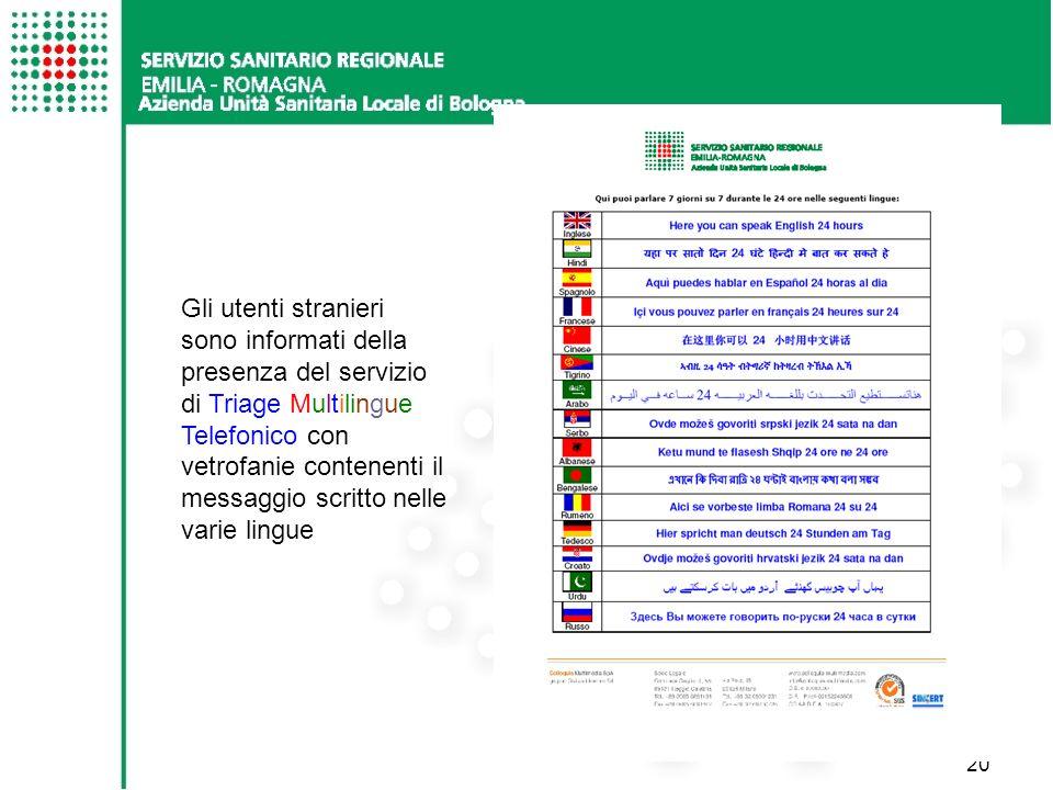 20 Gli utenti stranieri sono informati della presenza del servizio di Triage Multilingue Telefonico con vetrofanie contenenti il messaggio scritto nelle varie lingue