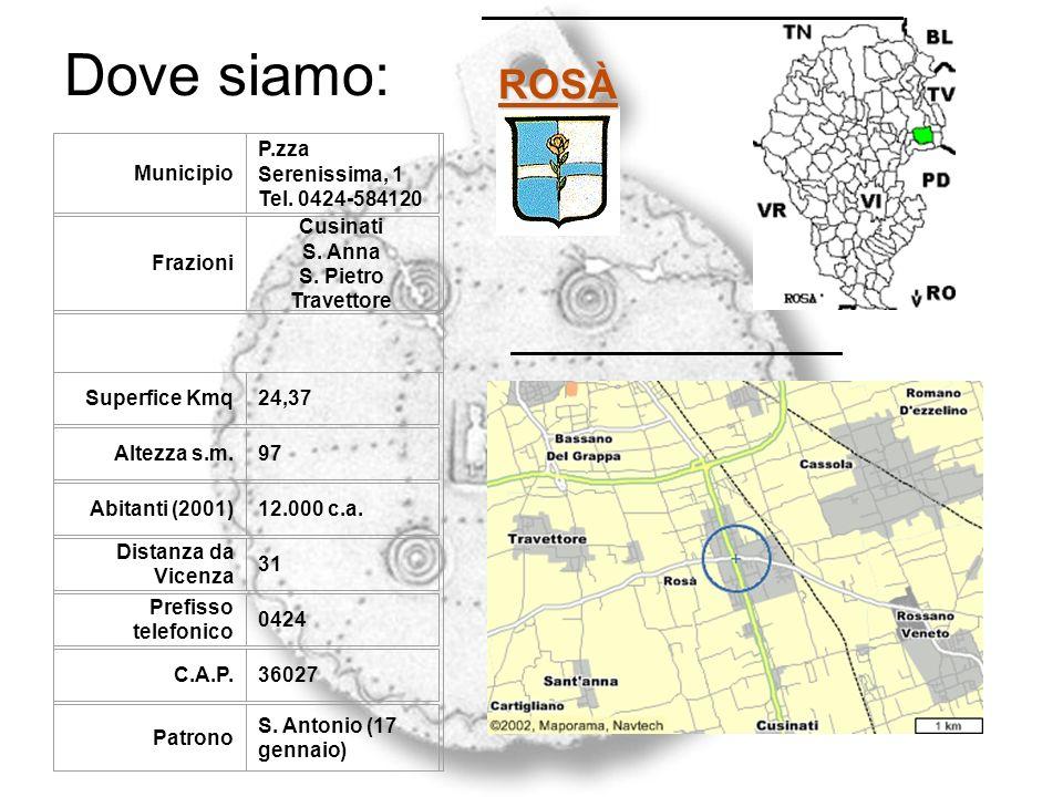 Dove siamo: ROSÀ Municipio P.zza Serenissima, 1 Tel. 0424-584120 Frazioni Cusinati S. Anna S. Pietro Travettore Superfice Kmq24,37 Altezza s.m.97 Abit