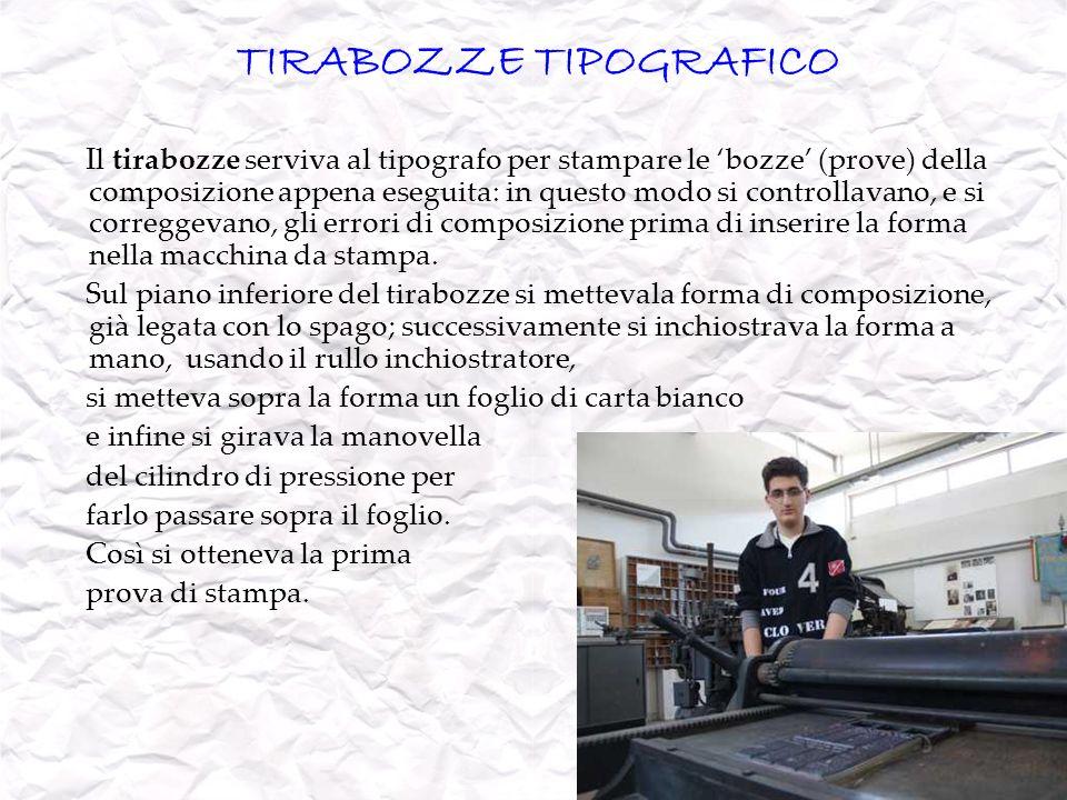 TIRABOZZE TIPOGRAFICO Il tirabozze serviva al tipografo per stampare le bozze (prove) della composizione appena eseguita: in questo modo si controllav