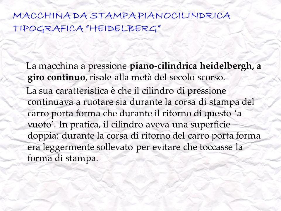 MACCHINA DA STAMPA PIANOCILINDRICA TIPOGRAFICA HEIDELBERG La macchina a pressione piano-cilindrica heidelbergh, a giro continuo, risale alla metà del