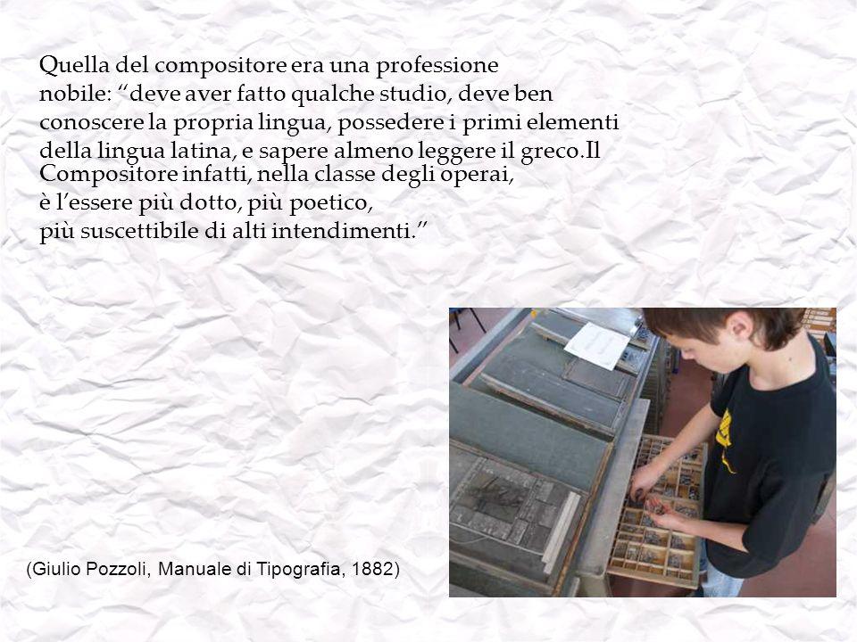 BANCONI PER LA COMPOSIZIONE Il mobile base che costituiva la sala di composizione a mano era formato dal bancone per i compositori: un lungo tavolo che serviva per appoggiare le casse contenenti i caratteri tipografici in piombo.