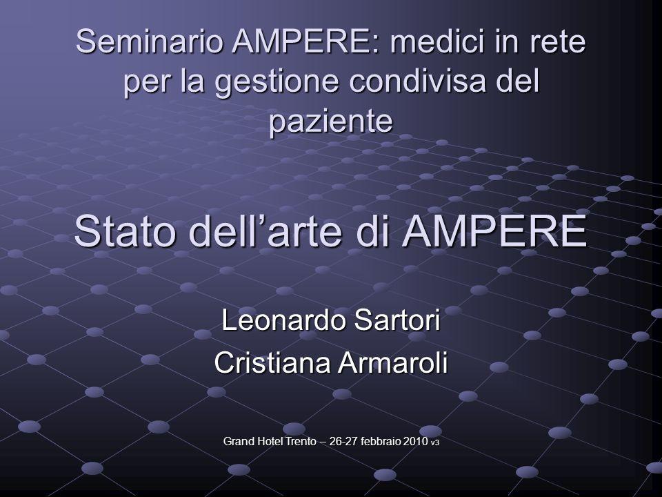 Stato dellarte di AMPERE Leonardo Sartori Cristiana Armaroli Seminario AMPERE: medici in rete per la gestione condivisa del paziente Grand Hotel Trent