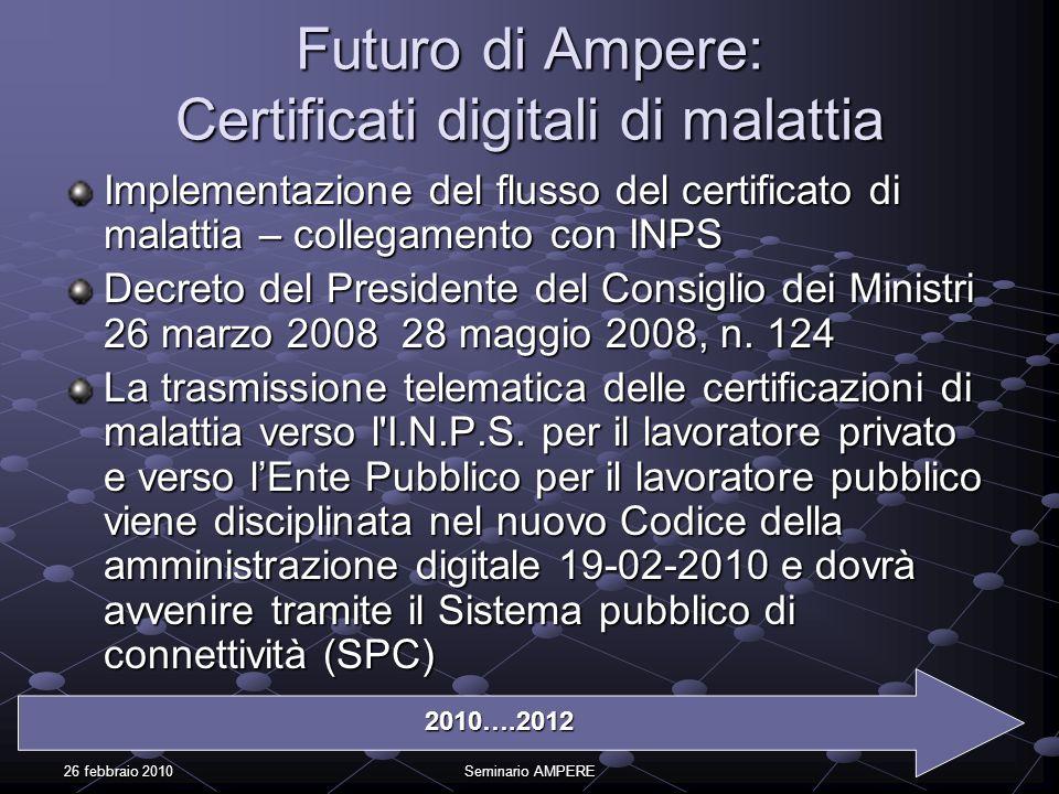26 febbraio 2010Seminario AMPERE Implementazione del flusso del certificato di malattia – collegamento con INPS Decreto del Presidente del Consiglio d