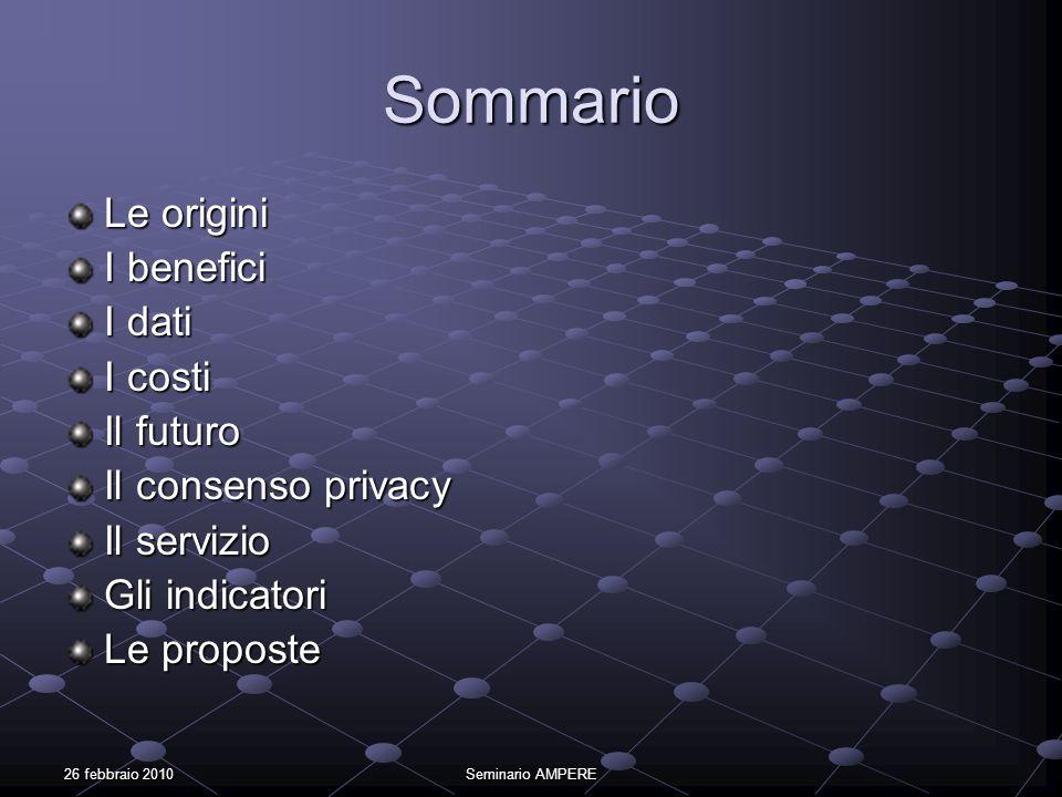 26 febbraio 2010Seminario AMPERE Sommario Le origini I benefici I dati I costi Il futuro Il consenso privacy Il servizio Gli indicatori Le proposte