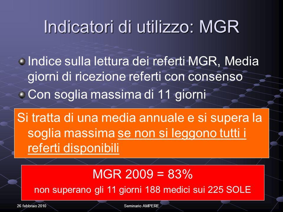 26 febbraio 2010Seminario AMPERE Indicatori di utilizzo: MGR Indice sulla lettura dei referti MGR, Media giorni di ricezione referti con consenso Con
