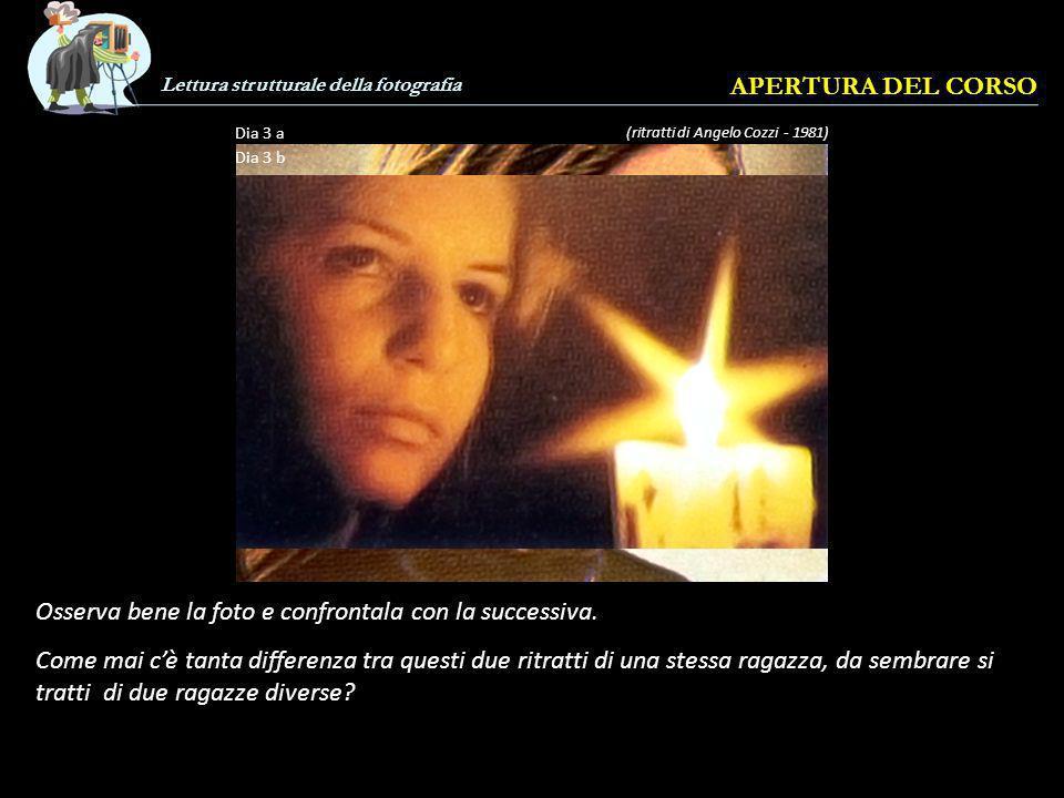 Lettura strutturale della fotografia APERTURA DEL CORSO (ritratti di Angelo Cozzi - 1981) Dia 3 a Dia 3 b Osserva bene la foto e confrontala con la successiva.