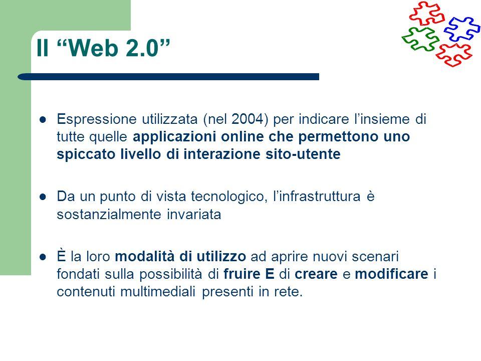 Espressione utilizzata (nel 2004) per indicare linsieme di tutte quelle applicazioni online che permettono uno spiccato livello di interazione sito-ut