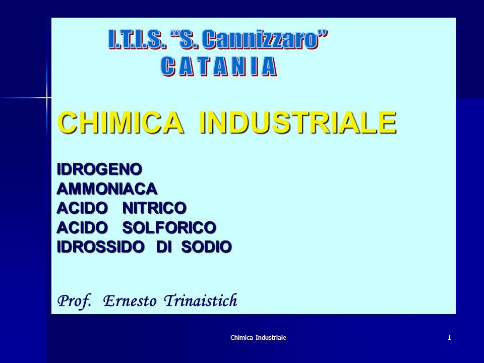 Chimica Industriale1 CHIMICA INDUSTRIALE IDROGENOAMMONIACA ACIDO NITRICO ACIDO SOLFORICO IDROSSIDO DI SODIO Prof. Ernesto Trinaistich