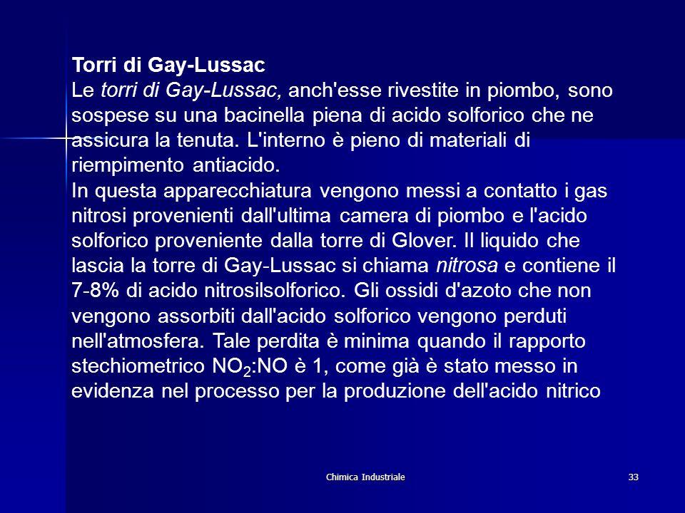 Chimica Industriale33 Torri di Gay-Lussac Le torri di Gay-Lussac, anch'esse rivestite in piombo, sono sospese su una bacinella piena di acido solforic