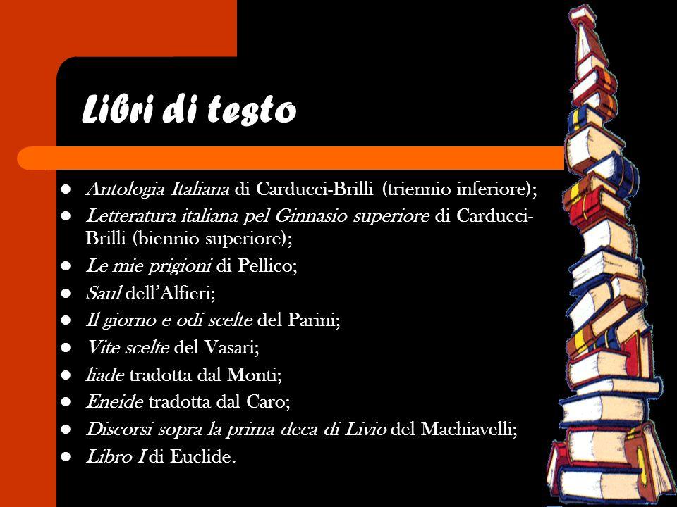 Libri di testo Antologia Italiana di Carducci-Brilli (triennio inferiore); Letteratura italiana pel Ginnasio superiore di Carducci- Brilli (biennio su