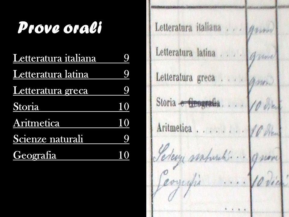 Letteratura italiana 9 Letteratura latina 9 Letteratura greca 9 Storia 10 Aritmetica 10 Scienze naturali 9 Geografia 10 Prove orali