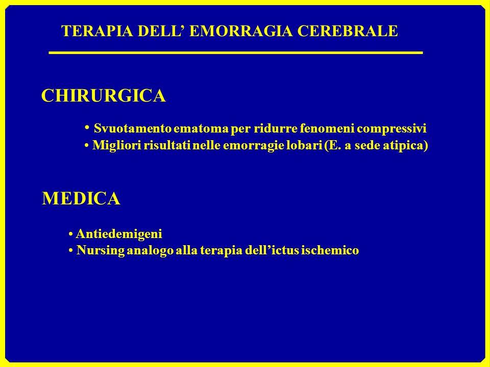 TERAPIA DELL EMORRAGIA CEREBRALE CHIRURGICA Svuotamento ematoma per ridurre fenomeni compressivi Migliori risultati nelle emorragie lobari (E. a sede