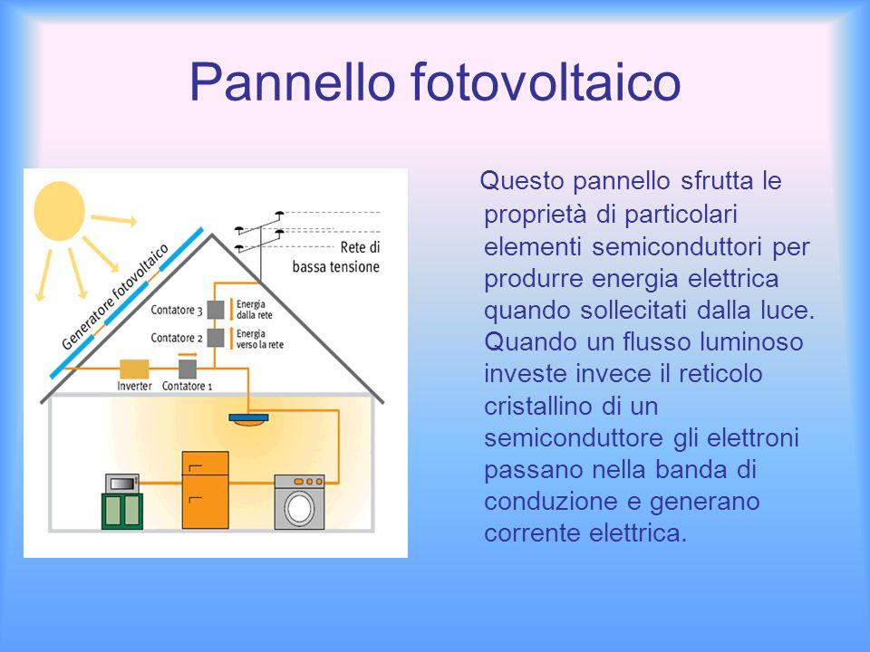 Produzione di energia I pannelli solari fotovoltaici convertono la luce solare direttamente in energia elettrica.