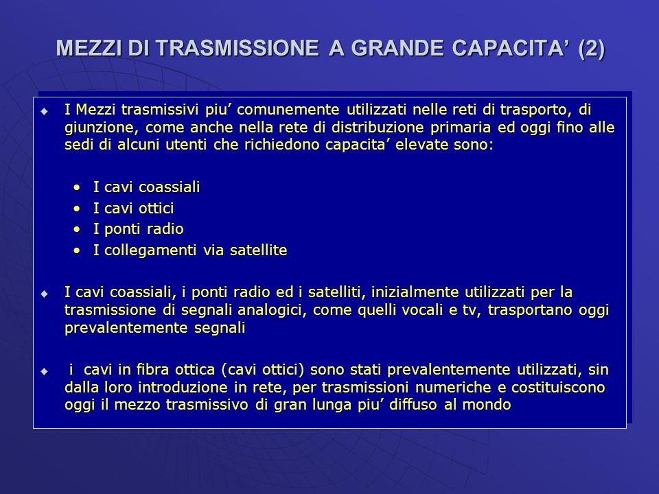 MEZZI DI TRASMISSIONE A GRANDE CAPACITA (2) I Mezzi trasmissivi piu comunemente utilizzati nelle reti di trasporto, di giunzione, come anche nella ret