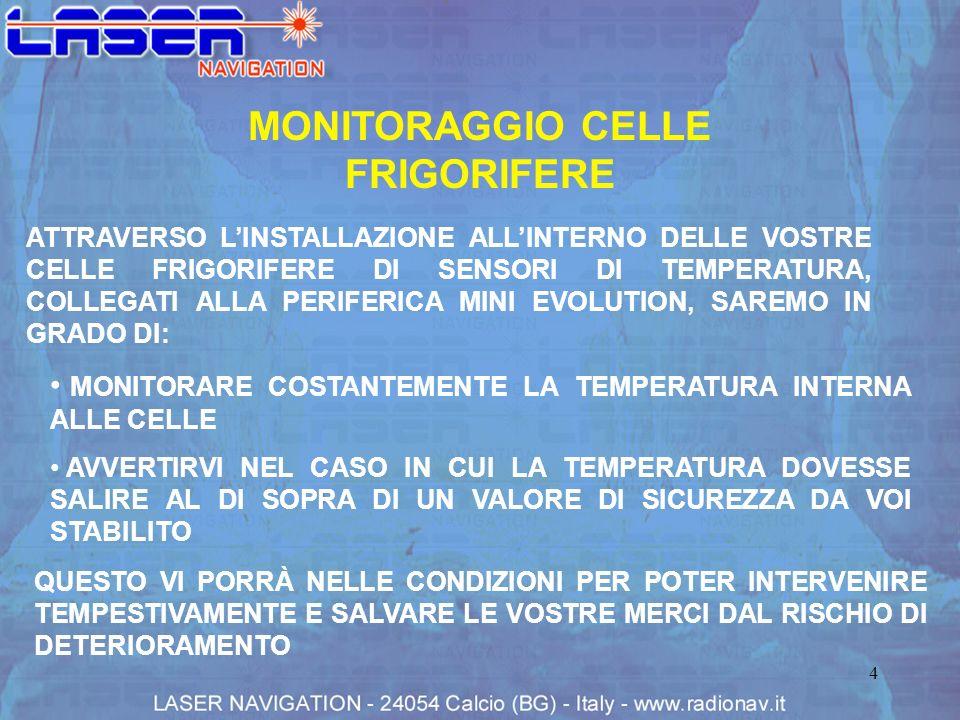 4 MONITORAGGIO CELLE FRIGORIFERE ATTRAVERSO LINSTALLAZIONE ALLINTERNO DELLE VOSTRE CELLE FRIGORIFERE DI SENSORI DI TEMPERATURA, COLLEGATI ALLA PERIFER