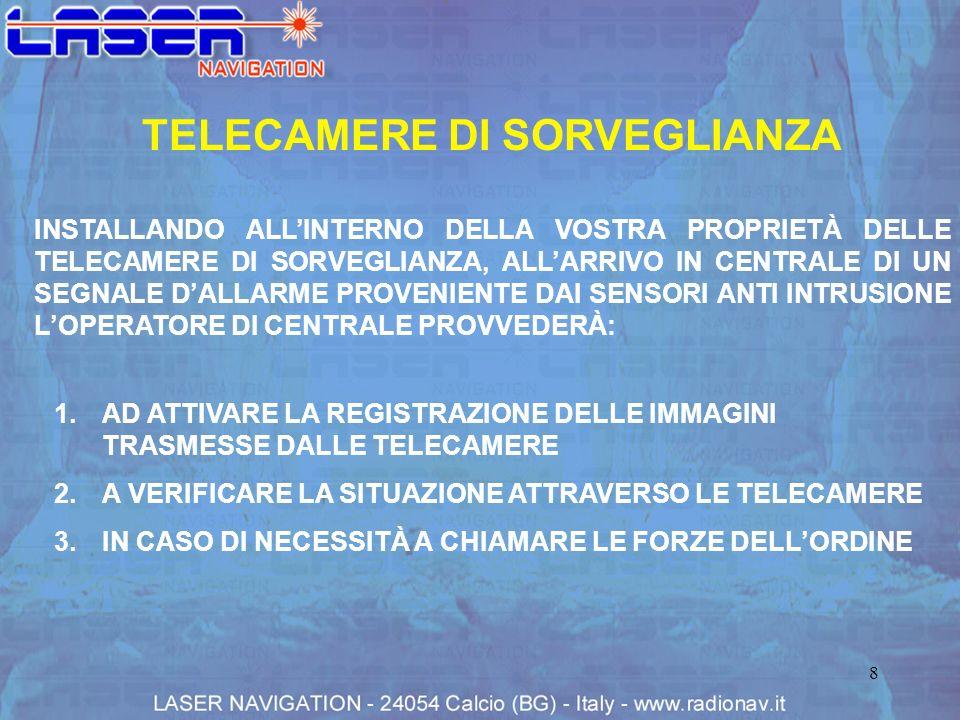 8 TELECAMERE DI SORVEGLIANZA INSTALLANDO ALLINTERNO DELLA VOSTRA PROPRIETÀ DELLE TELECAMERE DI SORVEGLIANZA, ALLARRIVO IN CENTRALE DI UN SEGNALE DALLA
