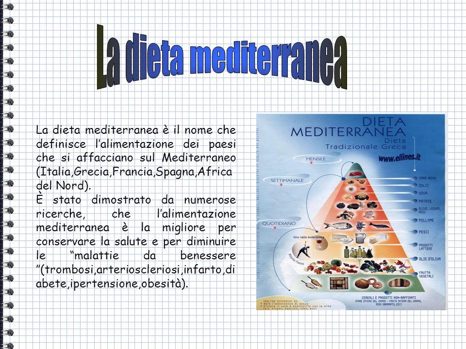 La dieta mediterranea è il nome che definisce lalimentazione dei paesi che si affacciano sul Mediterraneo (Italia,Grecia,Francia,Spagna,Africa del Nor