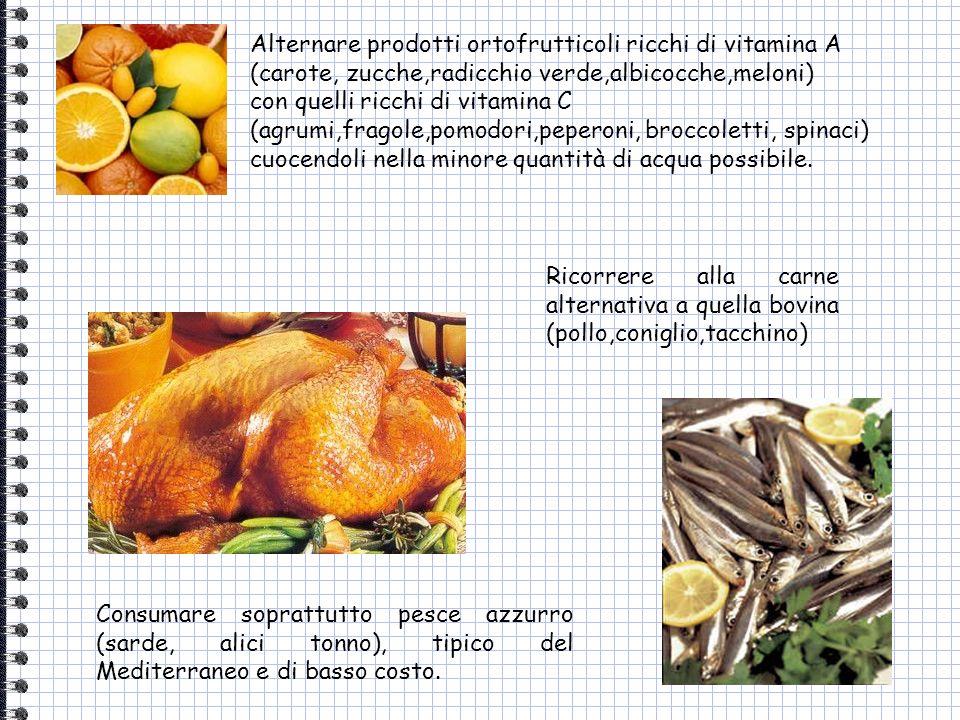 Ricorrere alla carne alternativa a quella bovina (pollo,coniglio,tacchino) Consumare soprattutto pesce azzurro (sarde, alici tonno), tipico del Medite