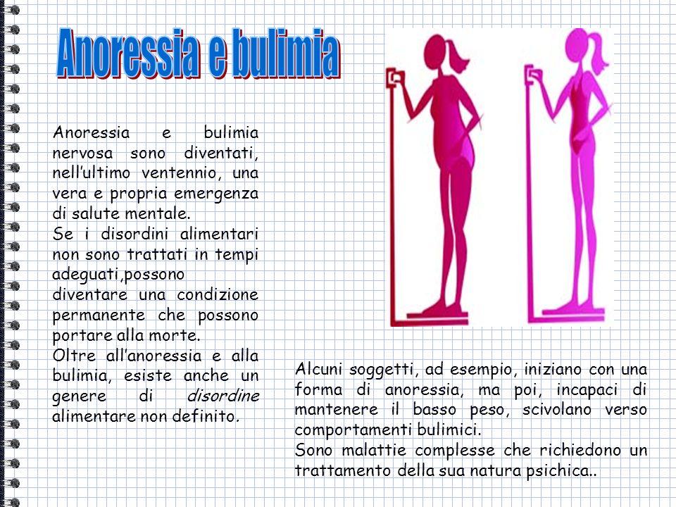 Anoressia e bulimia nervosa sono diventati, nellultimo ventennio, una vera e propria emergenza di salute mentale. Se i disordini alimentari non sono t