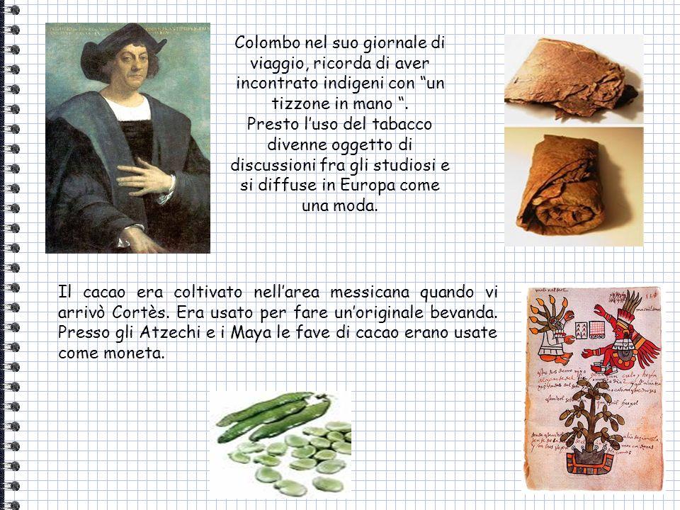 Colombo nel suo giornale di viaggio, ricorda di aver incontrato indigeni con un tizzone in mano. Presto luso del tabacco divenne oggetto di discussion